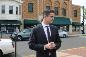 Kevin Strouse at a press conference last week in front of his campaign office in Bristol.