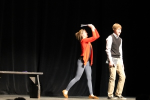 JACK FIRNENO / WIRE PHOTO Allie Wiatrowski (left) and Colin O'Neill performed at the Bucks County Playhouse in New Hope.