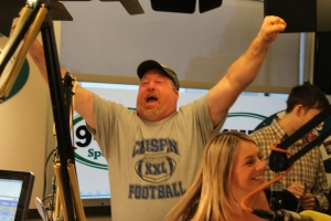 MATT SCHICKLING / WIRE PHOTO Horsham's Al Marnoch consumed 17 PJ Wheliman's wings on Sportsradio WIP last Wednesday, earning a seat to compete at Wing Bowl 23.