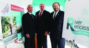 JACK FIRNENO / WIRE PHOTO From left, Bensalem Director of Builsinf and Planning Matt Takita, Stephen McKenna, president of Magnotti Companies and Bensalem Mayor Joseph DiGirolamo at a press conference announcing the River Renaissance project.
