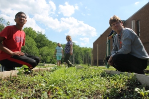 PHOTOS BY MATT SCHICKLING / Students at Bensalem's Shafer Elementary School built a garden behind the school, thanks to a grant from the Northampton Raab Foundation. All the food grown there goes to community groups like Libertae, a Bensalem organization that helps women recovering from addiction.