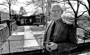 Dr. Charles E. Rollins, founding president of Bucks County Community College who served at college from 1965 to 1987, has passed away at age 93. He's pictured on the balcony outside his office in Tyler Hall, overlooking the 200-acre campus in Newtown Township.