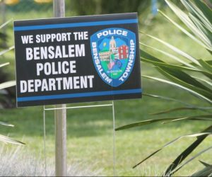 "MATT SCHICKLING / WIRE PHOTO Over tghe last week, 1,500 lawn signs reading ""We Support Bensalem Police Department"" have been distributed from Bensalem Township's municipal building."