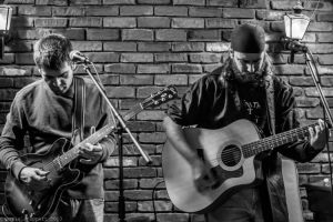 PHOTO: DANIEL HUPPERT / Left to right: Robert Fulton and Sean Faust perform in New Hope on Friday with the band The Adventure Soundtrack, and as a duo on Saturday.