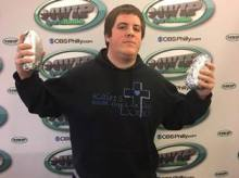 PHOTO: SportsRadio 94WIP / Michael Warren made got a seat at the 2017 Wing Bowl after eating two Chipotle burritos in less than seven minutes