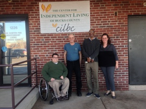 The support team: Pictured are (from left) Josh Pittinger, executive director of the Center for Independent Living of Bucks County; Brian Tanner; Allen Johnson, a recovery coach with the Mental Health Association of Southeastern Pennsylvania's Host Program; and Karen Hewlett, program manager at the Center for Independent Living. TIMOTHY REILLY / FOR THE TIMES